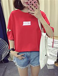 abordables -Tee-shirt Femme, Couleur Pleine / Lettre Imprimé Actif / Basique