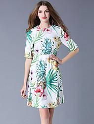 baratos -Mulheres Vintage / Boho Evasê Vestido - Renda / Franjas / Estampado, Floral / Geométrica Acima do Joelho Folha tropical