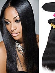 cheap -Peruvian Hair Straight Hair Weft with Closure 3 Bundles With  Closure Human Hair Weaves Gift / Easy dressing / Best Quality Natural Black Human Hair Extensions Women's