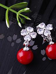 baratos -Mulheres Zircônia Cubica Brincos com Clipe - Flor Fashion Vermelho Para Casamento / Noivado