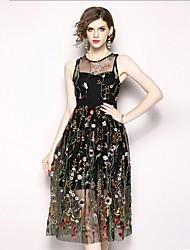 Недорогие -Жен. Классический С летящей юбкой Платье - Цветочный принт, Вышивка Средней длины