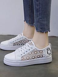 preiswerte -Damen Schuhe Leinwand Frühling Sommer Kinderbett Schuhe Sneakers Walking Flacher Absatz Runde Zehe Weiß / Schwarz / Rosa