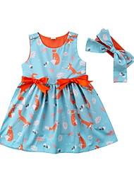 Недорогие -Дети (1-4 лет) Девочки Тропический лист С принтом Контрастных цветов Пэчворк Без рукавов Платье