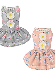 cheap -Dogs / Cats Dress Dog Clothes Floral / Botanical / Flower / Floral Gray / Pink Acrylic Fibers Costume For Pets Female Flower Style /