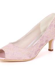 baratos -Mulheres Sapatos Tule / Cetim Primavera Verão Plataforma Básica Sapatos De Casamento Salto Sabrina Peep Toe para Casamento / Festas &
