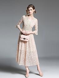 baratos -Mulheres Vintage balanço Vestido - Renda / Vazado / Franjas, Sólido / Geométrica / Xadrez Médio