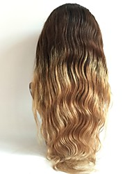 cheap -Virgin Human Hair Lace Front Wig Brazilian Hair / Body Wave Wavy Blonde Wig Layered Haircut 130% Ombre Hair / Dark Roots Blonde Women's Short / Long / Mid Length Human Hair Lace Wig