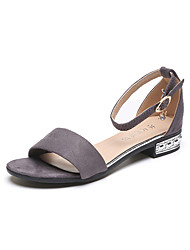 cheap -Women's Shoes PU / Synthetic Spring & Summer Comfort Sandals Walking Shoes Flat Heel Round Toe Sparkling Glitter for Office & Career