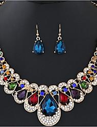 abordables -Femme Colliers plastrons Ensemble de bijoux - Goutte Bohème Comprendre Arc-en-ciel / Rouge / Bleu Pour Cérémonie / Carnaval / Boucles d'oreille