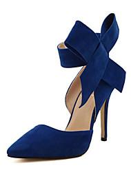 baratos -Mulheres Sapatos Micofibra Sintética PU Primavera Verão Tira no Tornozelo / Plataforma Básica Saltos Salto Agulha Dedo Apontado Laço para