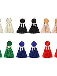 Недорогие -С кисточками Серьги-слезки - кисточка, Мода Красный / Розовый / Темно-зеленый Назначение Для вечеринок / Свидание