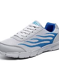 baratos -Homens sapatos Tule Outono Conforto Tênis Caminhada Cinzento Laranja e Preto