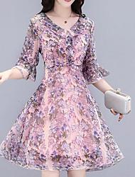 cheap -Women's Boho / Street chic Flare Sleeve Shift Dress - Plaid