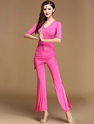 abordables -Danza del Vientre Accesorios Mujer Entrenamiento / Rendimiento Modal Fruncido / Ceñido Media Manga Cintura Alta Top / Pantalones