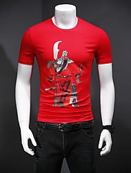 baratos -Homens Camiseta Retrato Algodão / Elastano Decote Redondo / Por favor, sempre escolha um número maior que o seu número normal.