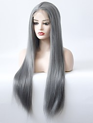 cheap -Synthetic Lace Front Wig Straight Middle Part Heat Resistant Natural Hairline Women Dark Gray Women's Lace Front Natural Wigs Long