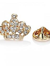 Недорогие -Кристалл Броши Корона принцессы принцесса Корона Дамы Винтаж Милая Мода Брошь Бижутерия Золотой Серебряный Назначение Свадьба Для вечеринок Маскарад Помолвка Выпускной обещание