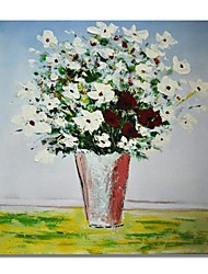 cheap -STYLEDECOR Modern Hand Painted Abstract A Bottle of White Flowers Oil Painting on Canvas for Wall Art