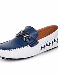 Недорогие -Муж. обувь Кожа Лето Мокасины Мокасины и Свитер для на открытом воздухе Золотой Черный Белый / синий