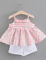 Недорогие -малыш Девочки С принтом / Контрастных цветов Без рукавов Набор одежды