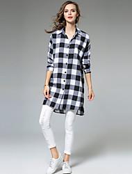 baratos -Mulheres Camisa Social Básico Moda de Rua Quadriculada