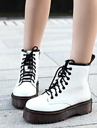 baratos -Mulheres Sapatos Couro Ecológico Outono & inverno Conforto Botas Sem Salto Botas Curtas / Ankle Branco / Preto / Vinho