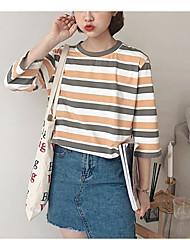baratos -Mulheres Camiseta Moda de Rua Franjas, Sólido Preto e Vermelho