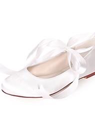 お買い得  -女性用 靴 サテン 春夏 バレリーナ フラット フラットヒール ラウンドトウ リボン紐 のために 結婚式 / パーティー ネービーブルー / ライトブラウン / クリスタル