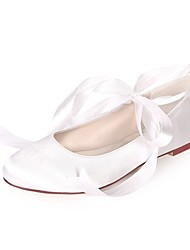 povoljno -Žene Cipele Saten Proljeće ljeto Balerinke Ravne cipele Ravna potpetica Okrugli Toe Ukrasna trakica za Vjenčanje / Zabava i večer Navy