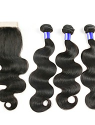 cheap -Peruvian Hair / Body Wave Wavy Hair Weft with Closure 3 Bundles With  Closure Human Hair Weaves Easy dressing / Best Quality / New Arrival Natural Black Human Hair Extensions Women's
