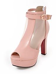 preiswerte -Damen Schuhe Tüll / Kunstleder Sommer Pumps Sandalen Blockabsatz Peep Toe Schwarz / Rosa / Mandelfarben