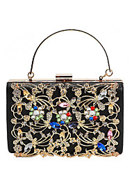 cheap -Women's Bags PU Leather Evening Bag Crystals / Flower Floral Print Black / Silver / Red
