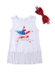Недорогие -Дети (1-4 лет) Девочки Однотонный / С принтом Без рукавов Платье