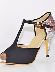 baratos -Mulheres Sapatos de Dança Latina Pele Nobuck Salto Salto Agulha Sapatos de Dança Prata / Black / Espetáculo / Couro / Ensaio / Prática
