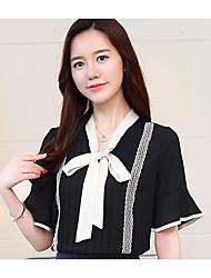 Недорогие -женская шелковая блузка - сплошная цветная шея