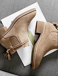 Недорогие -Жен. Обувь Кожа Наступила зима Зимние сапоги Ботинки На толстом каблуке Круглый носок Сапоги до середины икры С кисточками Черный /