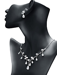 cheap -Women's Cubic Zirconia Jewelry Set - Drop Fashion, Elegant Include Drop Earrings / Pendant Necklace White For Wedding / Engagement