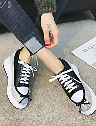 cheap -Women's Shoes Leatherette Spring Comfort Sneakers Flat Heel Round Toe for Casual Black / Beige / Red
