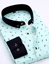 Недорогие -Муж. Рубашка Классический Полоски / Геометрический принт