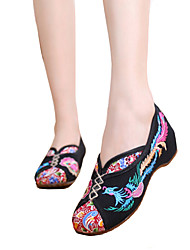 Недорогие -Жен. Обувь Полотно Наступила зима Удобная обувь Мокасины и Свитер На плоской подошве Круглый носок Черный / Бежевый / Красный