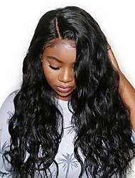 Недорогие -Необработанные Натуральные волосы Парик Перуанские волосы Волнистый Глубокое разделение 150% плотность С детскими волосами Необработанные