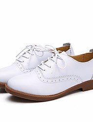 cheap -Women's Shoes Leather Spring / Fall Comfort Oxfords Low Heel Round Toe for Outdoor White / Black / Brown