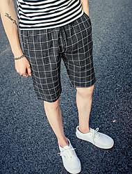 abordables -Hombre Deportivo Simple Shorts Chinos Pantalones - Un Color Cuadrícula