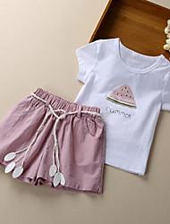 cheap -Kids Girls' Cherry Print Fruit Short Sleeves Clothing Set