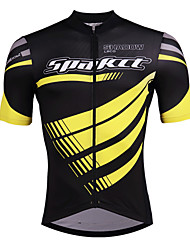 cheap -SPAKCT Men's Short Sleeve Cycling Jersey - Black / Yellow Bike Jersey, Reflective Strips / Expert / YKK Zipper / Italy Imported Ink / Breathable Armpits