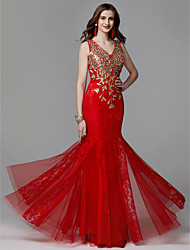 cheap -Mermaid / Trumpet V Neck Floor Length Lace / Tulle Prom / Formal Evening Dress with Beading / Lace by TS Couture®