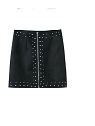 cheap -Women's Vintage Pencil Skirts - Solid Colored Black & White