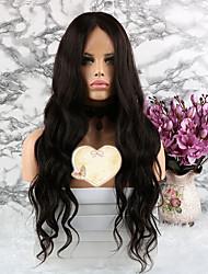 baratos -Cabelo Remy Peruca Cabelo Brasileiro Ondulado Corte em Camadas 130% Densidade Com Baby Hair Natural Curto / Longo / Comprimento médio