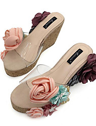 cheap -Women's Shoes PU Summer Comfort Sandals Wedge Heel Peep Toe Satin Flower for Party & Evening Black / Almond