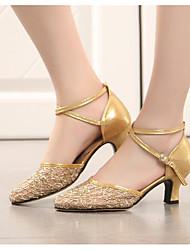 baratos -Mulheres Sapatos de Dança Moderna Renda Salto Salto Robusto Sapatos de Dança Dourado / Preto / Prata / Espetáculo / Ensaio / Prática
